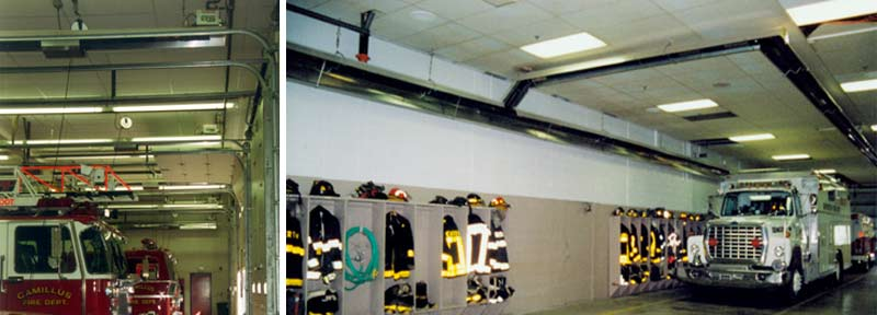 Fire House Installation, Infrared Tube Heaters Mounted Along the Wall with Side Extensions