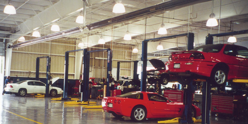 Infrared Heaters Installated In A Car Repair Shop